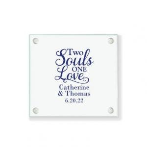 Two Souls One Love Personalized Coaster image