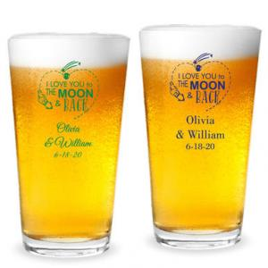 Love You To the Moon and Back Rocket Personalized 16 oz Pint image