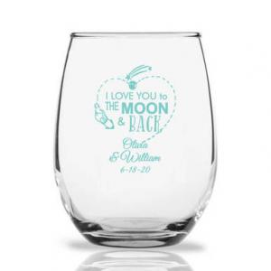Love You To the Moon and Back Rocket Personalized 9 oz Steml image