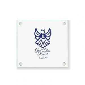 Angel Wings Personalized Glass Coaster image