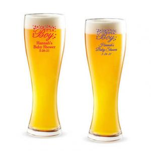 It's A Boy Personalized Pilsner Beer Glass image