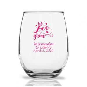 Let Love Grow Personalized 9 oz Stemless Wine Glass image