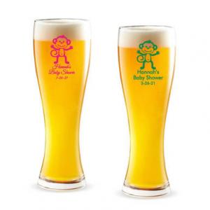 Baby Monkey Personalized Pilsner Beer Glass image