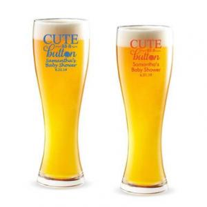Cute As A Button Personalized Pilsner Beer Glass image