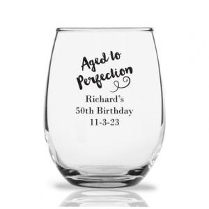 Aged To Perfection Personalized 9 oz Stemless Wine Glass image