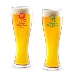 Baby Rattle Personalized Pilsner Beer Glass image