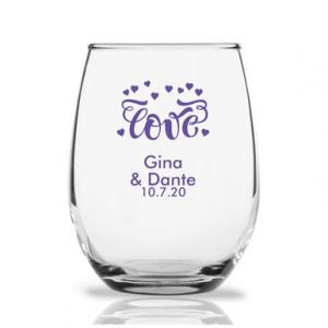 Love Hearts Personalized 9 oz Stemless Wine Glass image