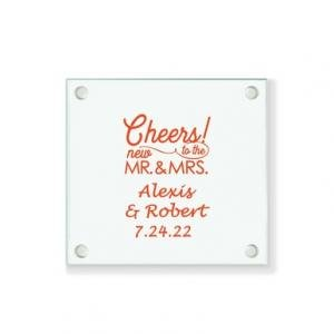 Cheers To The New Mr & Mrs Personalized Coaster image