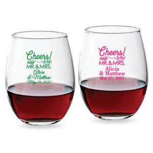 Cheers To the New Mr. and Mrs. Personalized 15 oz Stemless W image
