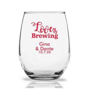 Love Is Brewing 9 oz Stemless Wine Glass image