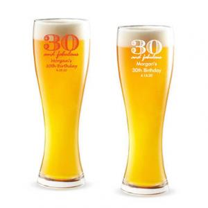 30 and Fabulous Personalized Pilsner Beer Glass image