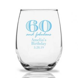 60 and Fabulous Personalized 9 oz Stemless Wine Glass image