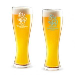 She Said Yes Script Personalized Pilsner Beer Glass image