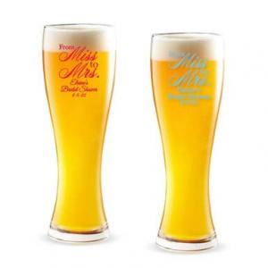 From Miss to Mrs. Intricate Personalized Pilsner Beer Glass image