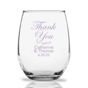 Thank You Personalized 9 oz Stemless Wine Glass image