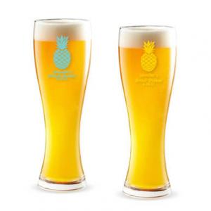 Pineapple Personalized Pilsner Beer Glass image