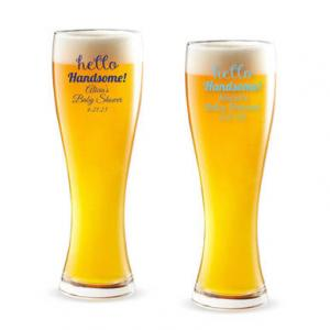 Hello Handsome! Personalized Pilsner Beer Glass image