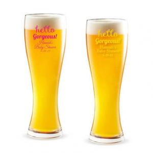 Hello Gorgeous! Personalized Pilsner Beer Glass image