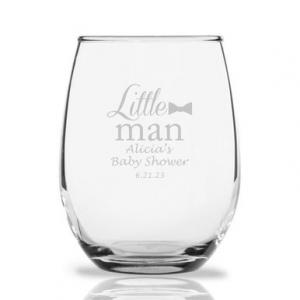 Little Man Personalized 9 oz Stemless Wine Glass image