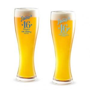 Sweet 16 Personalized Pilsner Beer Glass image