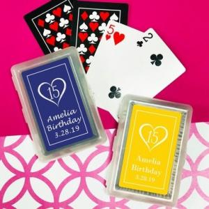 Heart Fifteen Playing Cards with Personalized Stickers image
