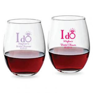 I Do Ring Personalized 15 oz Stemless Wine Glass image