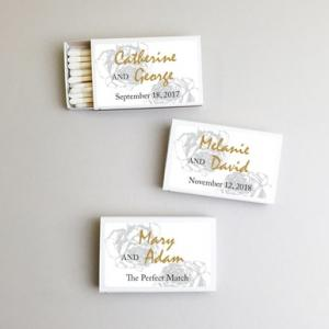 Personalized Silver Rose Classic White Matches (Set of 50) image