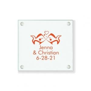 Kissing Fishes Personalized Coaster image