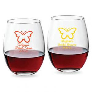 Butterfly Personalized 15 oz Stemless Wine Glass image