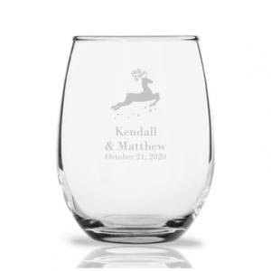 Reindeer Personalized 9 oz Stemless Wine Glass image