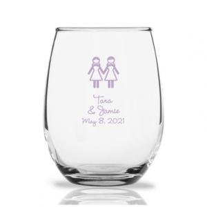 Hers Personalized 9 oz Stemless Wine Glass image