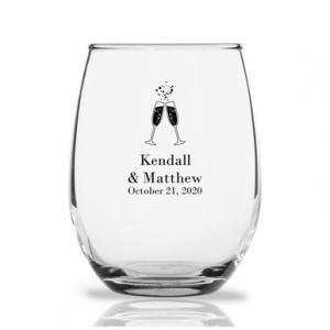 Cheers Personalized 9 oz Stemless Wine Glass image