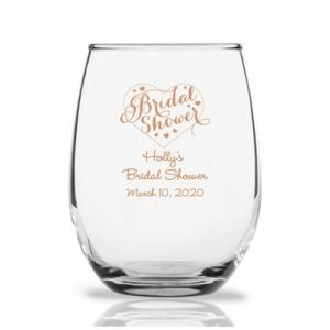 Bridal Shower Personalized 9 oz Stemless Wine Glass image
