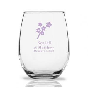 Cherry Blossoms Personalized 9 oz Stemless Wine Glass image
