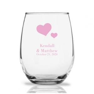 Solid Hearts Personalized 9 oz Stemless Wine Glass image