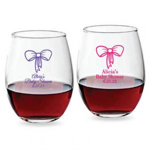 Bow Personalized 15 oz Stemless Wine Glass image