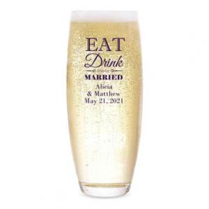 Eat Drink and Be Married Personalized Stemless Champagne Flu image