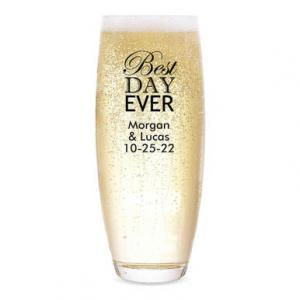 Best Day Ever Personalized Stemless Champagne Flute image