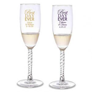 Best Day Ever Personalized Twisted Champagne Flutes image