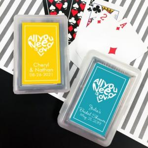 All You Need is Love Playing Cards with Personalized Sticker image