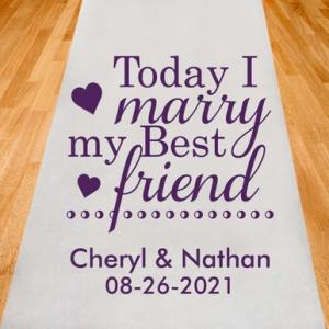 Today I WIll Marry My Best Friend Personalized Aisle Runner image