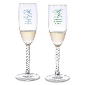 At Last Personalized Twisted Champagne Flutes image