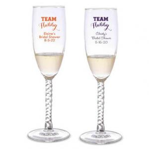 Team Hubby Personalized Twisted Champagne Flutes image