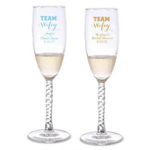 Team Wifey Personalized Twisted Champagne Flutes image