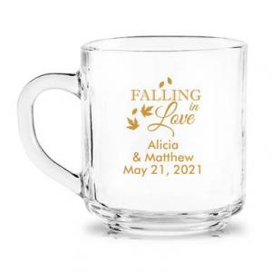 Falling in Love Personalized Glass Coffee Mug image