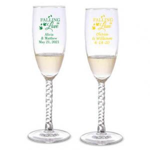 Falling in Love Personalized Twisted Champagne Flutes image