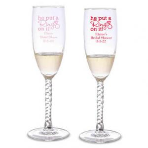 He Put A Ring On It Personalized Twisted Champagne Flutes image