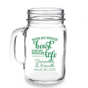 With My Whole Heart For My Whole Life Personalized 16 oz Mas image