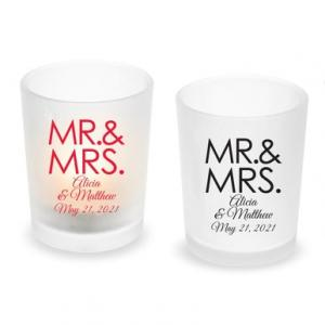 Mr. & Mrs. Block Personalized Frosted Glass Votive image