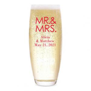 Mr. & Mrs. - Block Personalized Stemless Champagne Flute image